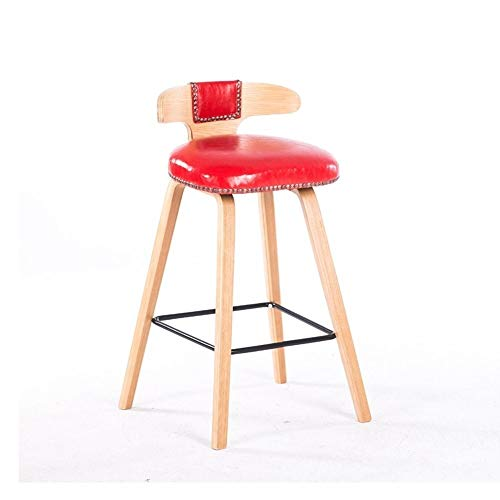 SHIJIAN Barstuhl Einfacher Barhocker Eisen Indoor Outdoor Fußschemel Pu-Leder Küche Esstisch Hochstuhl mit Rückenlehne Runder Drehlift Stuhl -