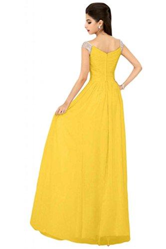 Sunvary Sexy in Chiffon con scollo A V, Maglia, Pantaloni A-line da sera o Desses Yellow