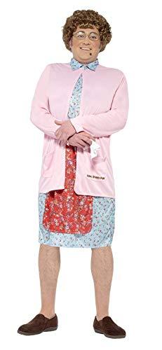 Smiffys 27076M - Mrs braun Padded Kostüm Kleid Cardigan Perücke Gläser Handkerchief und Mole, rosa (Grease Pink Damen Kostüme Ideen)