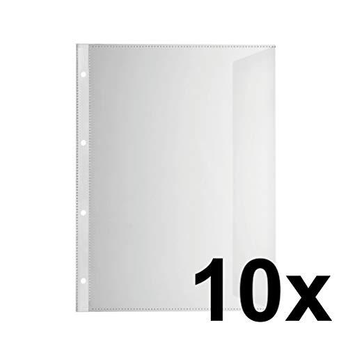 Original Falken 10er Pack Premium PP-Kunststoff Dokumentenhüllen. Mit Verschlusstasche für DIN A4 transparent glasklar Klarsichtfolie Plastikhülle Klarsichthülle ideal für Ordner und Hefter