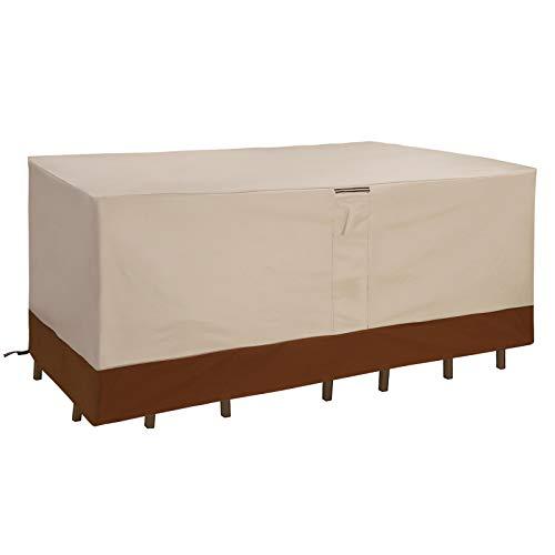SONGMICS Abdeckung für Tisch und Stühle, 600D Oxford-Gewebe, Schutzhülle für Gartenmöbel-Set, Abdeckhaube, wasserfest und farbecht, für Outdoor, 250 x 200 x 80 cm (L x B x H), beige GFC92EC