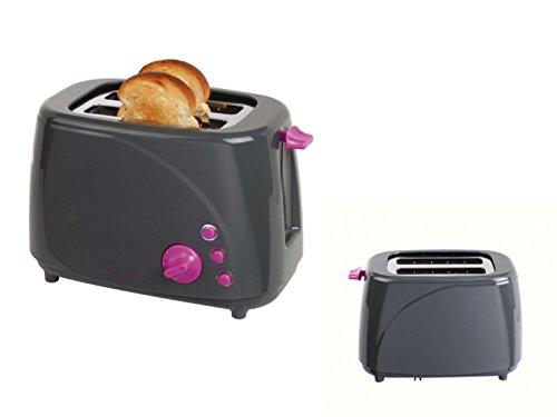 Grille-pain 2Tranches avec ramasse-miettes Thermostat Toast Appareil Toast automatique (Spar Same 850W, réchauffage, Décongélation, 5niveaux, gris)