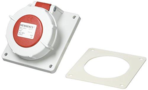 Mennekes 147920gradi angolare Pannello Montato Socket, protezione IP 67, 6ore Terra posizione corrente, 4poli, 16A, 400V, colore: rosso