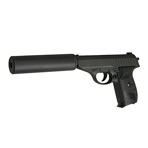 Galaxy - Pistola da softair tipo Sig Sauer P230, Full Metal, a molla, con silenziatore e ricarica manuale (0,4 joule)