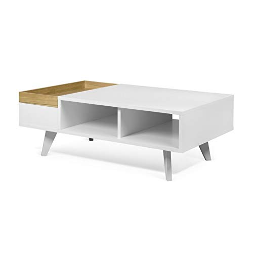 Paris Prix - Temahome - Table Basse Design platô 110cm Blanc & Chêne