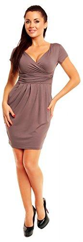 Zeta Ville - Damen Jersey Kleid mit Taschen Elegantes Shirtkleid Gr 38-44 - 806z Cappuccino