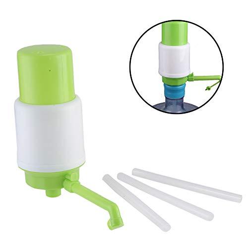 HUVE Dispensador de Agua Manual para garrafas Bomba, Compatible con la mayoría de Botellas Grandes Que usas a Diario en casa,Blanco/Verde
