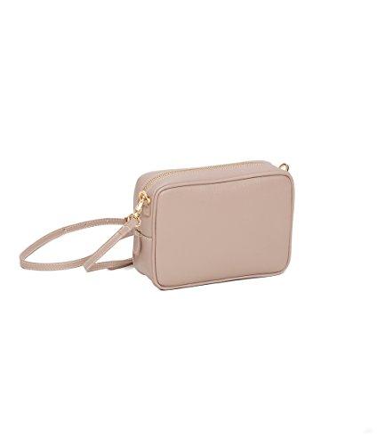 Handgefertigte Leder (Winter & Co. Minibag kleine Umhängetasche Schultertasche Handtasche Damen puder aus edlem Leder handgefertigt in Italien)
