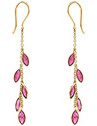 Gehna 18KT Yellow Gold and Ruby Drop Earrings for Women
