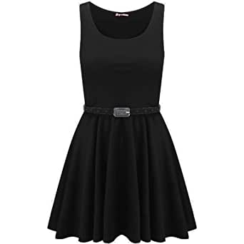 Ladies Belted Pleated Plus Size Sleeveless Skater Dress, S/M 8-10, Black
