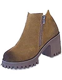 Xianshu nubuck round toe bloc talon zip Martin bottes (Khaki-39 EU)