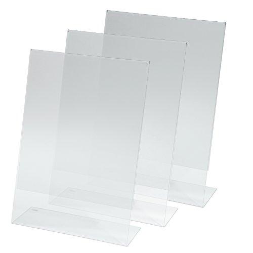 Sigel TA210 Tischaufsteller schräg, 3 Stück, für A4, glasklar Acryl - weitere Größen