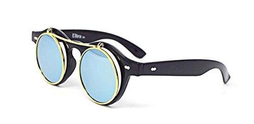 Ultra negro marco verde lentes Flip up círculo Steampunk gafas de alta calidad gafas retro redondo cibernético Vintage estilo gótico UV400 UVA UVB gafas de sol superiores de calidad superior
