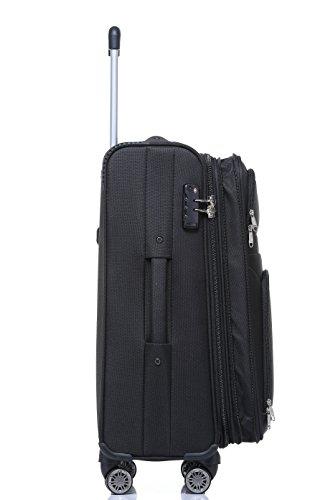 BEIBYE BEIBYE 8009 TSA Schloß Stoff Trolley Reisekoffer Koffer Kofferset Gepäckset (Schwarz, L)