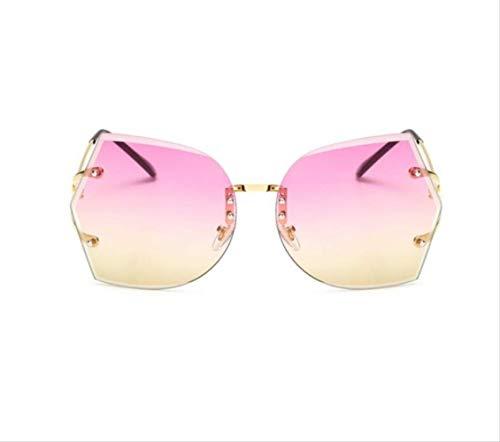 shengbuzailai Randlose klare Sonnenbrille Schmetterling Übergroße Metallbrille Vintage Designer Damen Promi Große Sonnenbrille A2