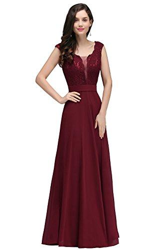 Kleid damen Elegant Abschlusskleider lang Abendkleid Festkleid A Linie Kleid Weinrot Gr.32