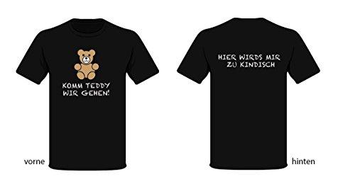 Komm Teddy wir gehen T-Shirt, Farbe: schwarz Schwarz