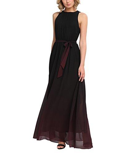 APART Fashion Damen Kleid 25151 Mehrfarbig (Schwarz-Beere) 38