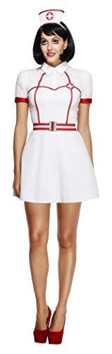 Fever, Damen Nachtschwester Kostüm, Kleid, Angenähter Unterrock, Gürtel und Kopfbedeckung, Größe: L, 43490 (Smiffys Nurse Kostüm)