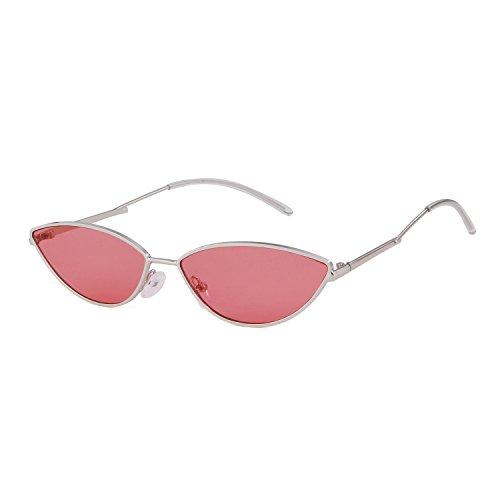 ADEWU 2018 Kleine Katzenaugen Sonnenbrille mit Metallrahmen Herren Damen (Rot (Linse) + Silber (Rahmen))