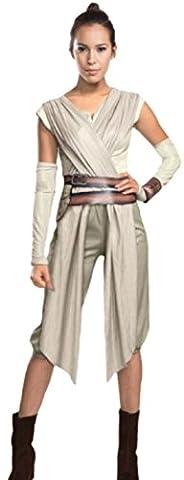 Karnevalsbud - Damen Rey Star Wars Kostüm-Top mit Gürtel, Shorts, Manschetten & Stulpen., L, (Leia Organa Kostüm)