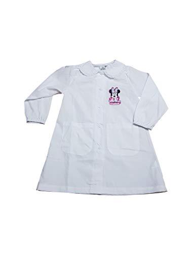Grembiule disney minnie asilo quadri rosa scuola materna per bambina (art. er6448a) (bianco, taglia 60-5 anni)