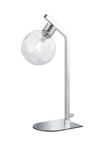 WOFI Tischleuchte 1-flammig, Fero, 1x G9 / 28 Watt, 220-240 Volt, Breite: 12 cm / Höhe: 40 cm, 2800K, 370 Lumen, Energieeffizenzklasse C, Glas mit Drahtgeflecht innen, inklusive Schalter, chrom 8325.01.01.0000