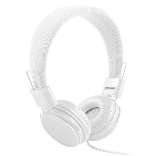 XdremYU Bluetooth Headset,Mikrofon EIN eufor Ohrhorer Funk Dual Rauschunterdrückung Candy Color Faltbarer HiFi-Stereo-Kopfhörer für kabelgebundene Steuerung mit Mikrofon White
