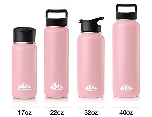 Hydrapeak Edelstahl Wasser Bottle- Klauenhammer Vakuum Isoliert Breit Mund, doppelwandig, Thermoskanne mit Griff Deckel, Rose, 22oz