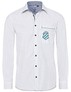Spieth & Wenksy Moser Trachten Trachtenhemd Langarm Weiß mit Bayerischem Wappen 003309 von, Material Baumwolle...