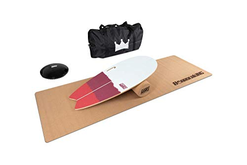 BoarderKING Indoorboard SURF - Skateboard Surfboard Trickboard Balanceboard Balance Board (100 mm (Kork)) (Red Bundle (150 mm x 45 cm (Ø x L))
