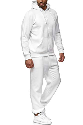 EGOMAXX Herren Jogginganzug einfarbig Basic Sportanzug2-teiligTrainingsanzug, Farben:Weiß, Größe Hosen:XL