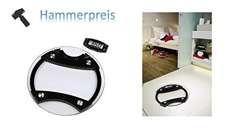 Xavax AKTION Digitale Körperfettwaage (für Körpergewicht, fett und -wasser, Abnehmbarer Display mit Daumensensoren, Rund, Infra) schwarz/Weiß