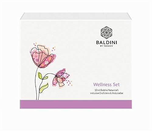 Baldini Wellness Set mit 10 ml Raumduft und Duftstein mit Holzteller, 1er Pack (1 x 175 g) -