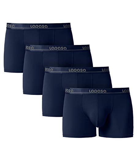 LAPASA Herren Boxershorts 4er Pack Micro Modal Unterhosen Unterwäsche Männer Retroshorts M02 MEHRWEG (L, Dunkelblau)