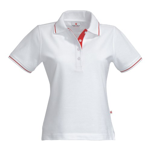 HAKRO Damen Polo-Shirt Casual - 203 - weiß/rot - Größe: M