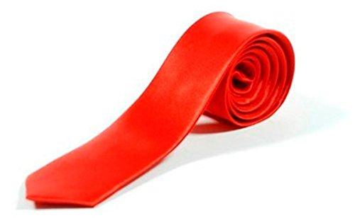 Cravate Fine Couleur Unie - Rouge