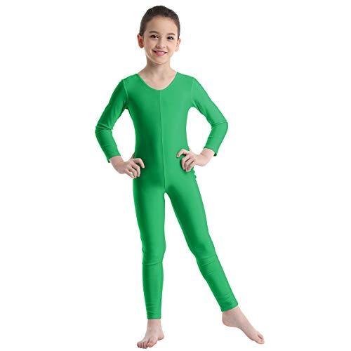 Agoky Unisex Mädchen Jungen Basic Ganzkörperanzug Einteiler Schlafanzug Jumpsuit Kostüm Ballettanzug Overall Langarm Body Grün 140-152/10-12 Jahre (Basic Kostüm Mädchen)