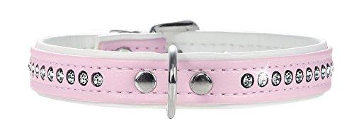 HUNTER MODERN ART LUXUS Halsband für Hunde, Kunstleder, mit Strasssteinchen, rosa/weiß, 37 -