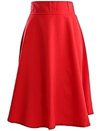 0eac260f2f10 Blansdi Damen Frühling Sommer Elegent Ol Stil Hohe Taille A-Linie Kleid  Normallack Große Schaukel