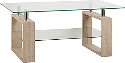 Milan Coffee Table in Sonoma Oak Effect Veneer/Clear Glass/Silver - low-cost UK coffee table store.