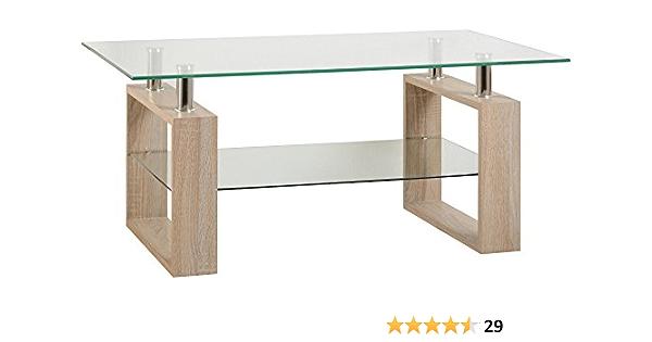 Milan Coffee Table In Sonoma Oak Effect Veneer Clear Glass Silver Amazon Co Uk Kitchen Home