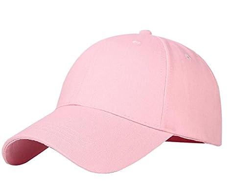 IKuaFly Casquette Baseball Snapback Hip Pop Couleur Unie Ajustable 6 Panneaux Taille Unique Golf Hat Motorcycle Trucker Cap - Homme Femme (rose)