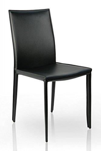 DuNord Design Esszimmerstuhl Stuhl VERONA schwarz Leder -