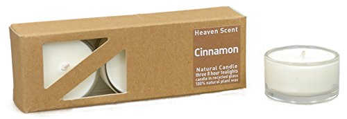 3x Beduftete Natural Cinnamon (Cinnamon) Plant Wax Tealights in recycled glass covers,...