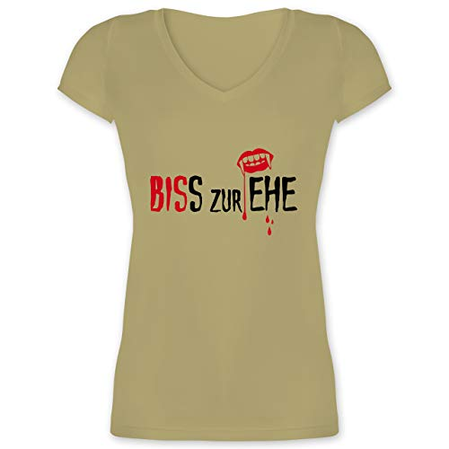 JGA Junggesellinnenabschied - Biss zur Ehe - XS - Olivgrün - XO1525 - Damen T-Shirt mit V-Ausschnitt