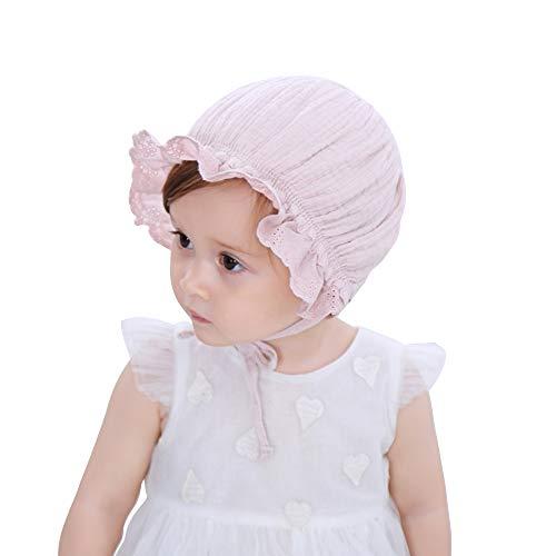 LACOFIA Baby Mütze Neugeborene Mädchen Prinzessin Hut Baumwolle Kleinkind Sommer Beanie Cap mit verstellbarem Kinnriemen Rosa 0-12 Monate