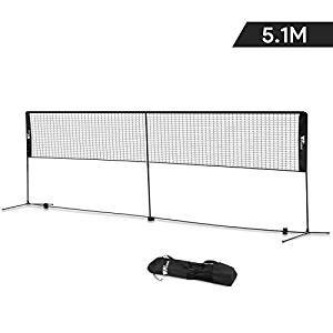 Amzdeal Badmintonnetz 5.1m mit Stabiler Halterung, Tennisnetz und Badmintonnetz 2 in 1 und Faltbar Standard Outdoor tragbar höhenverstellbar Netz mit Einer schönen Aufbewahrungstasche(schwarz)