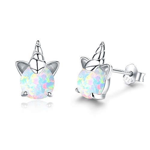 Einhorn Ohrringe Mädchen Ohrstecker Silber 925 Ohrringe Damen Opal Schmuck Geschenke für Frauen...