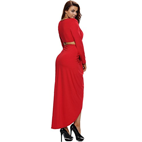 Erica Femmes Party / Cocktail Club V-cou Midriff Robe à manches longues Deep V-neck Mini Dress Red